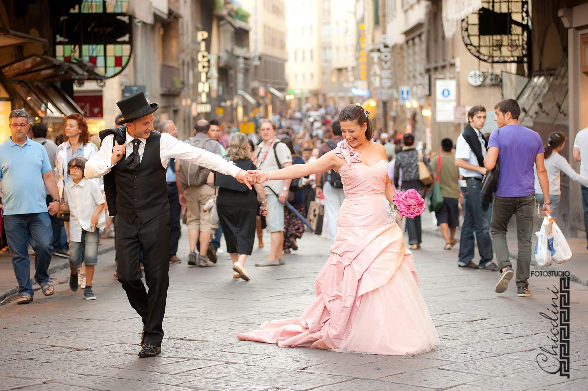 Matrimonio a Firenze, Katiuscia e Toni, Ponte Vecchio, foto matrimonio Firenze